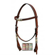 The Turn-Two Equine™ Laredo Collection is made with quality Harness Leather that features a light brown finish with tacky oiled surface, hand finished edges and fine stitching. Design features hand woven rawhide accents with contrast white stitching, nickel hardware with quick bit ends.