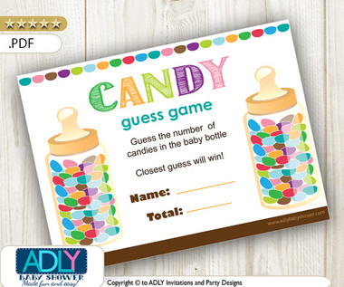 Guess Candy Printable Game Card Guess How Many Candies In