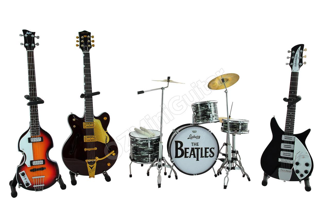 the beatles miniature guitars and drum mega set ozminiguitar. Black Bedroom Furniture Sets. Home Design Ideas