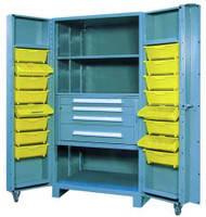 1104 Lyon All Welded Cabinet with Modular Drawers and Tilt-Bins