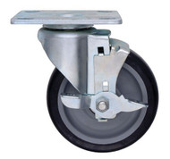 "Polyurethane Swivel Plate Caster with Brake 5""x1-1/4"""
