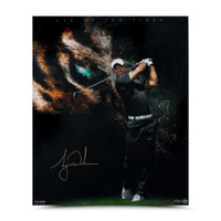 "TIGER WOODS AUTOGRAPHED ""EYE OF THE TIGER"" 20 X 24 UDA LE 100"