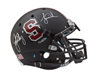 TIGER WOODS & JOHN ELWAY AUTOGRAPHED BLACK STANFORD AUTHENTIC HELMET UDA LE 25