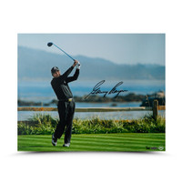 GARY PLAYER AUTOGRAPHED TEE SHOT ON 18 PHOTO UDA LE 25