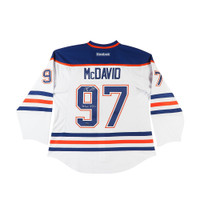 CONNOR MCDAVID AUTOGRAPHED & INSCRIBED EDMONTON OILERS AUTHENTIC REEBOK WHITE JERSEY UDA LE 97