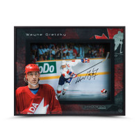 WAYNE GRETZKY Autographed Team Canada Center Ice 16 X 20 Shadow Box UDA
