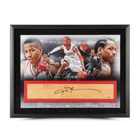 "ALLEN IVERSON Autographed NBA Game-Used Floor ""The Answer"" Collage 36x24 UDA LE 30"