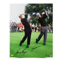 "GARY PLAYER/JACK NICKLAUS AUTOGRAPHED ""DUAL WITH JACK"" PHOTO UDA LE 25"