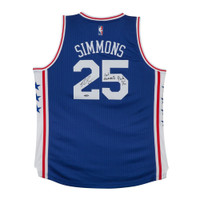 BEN SIMMONS Autographed & Inscribed 76ers Away Jersey UDA