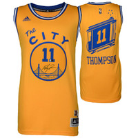 KLAY THOMPSON Golden State Warriors Autographed Hardwood Classic 'The City' Jersey FANATICS