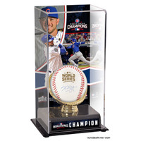 KRIS BRYANT Chicago Cubs 2016 MLB World Series Champions Autographed World Series Logo Baseball and Baseball Display Case with Image FANATICS