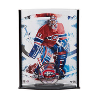 PATRICK ROY Autographed Acrylic Montreal Canadiens Puck & Curve Display UDA