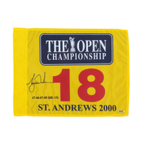 TIGER WOODS Autographed Embroidered 2000 British Open Pin Flag UDA