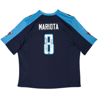 MARCUS MARIOTA Signed & Inscribed Tennessee Titans Blue Game Jersey UDA LE 25