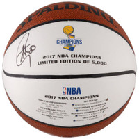 STEPHEN CURRY Autographed 2017 NBA Champion White Panel Basketball FANATICS