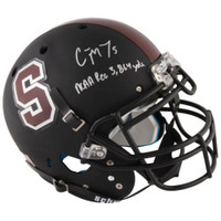 CHRISTIAN McCAFFREY Autographed Stanford Cardinal Stat Authentic Helmet FANATICS