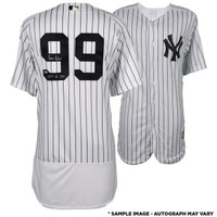 AARON JUDGE New York Yankees Autographed Majestic White Authentic Jersey with 2017 AL ROY Inscription FANATICS