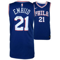 JOEL EMBIID Philadelphia 76ers Autographed Blue Nike Jersey FANATICS