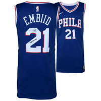 "JOEL EMBIID Philadelphia 76ers Signed ""The Process"" Blue Nike Jersey FANATICS"