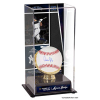 AARON JUDGE New York Yankees Autographed Baseball and 2017 Rookie of the Year Sublimated Display Case with Image FANATICS