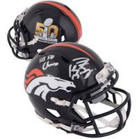 "PEYTON MANNING Denver Broncos Autographed Riddell Super Bowl 50 Champion Mini Helmet with ""SB 50 Champs"" Inscription FANATICS"