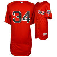 DAVID ORTIZ Boston Red Sox Autographed Majestic Red Authentic Retirement Logo Jersey FANATICS