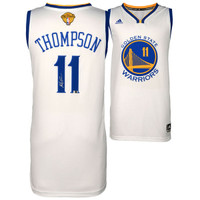 KLAY THOMPSON Golden State Warriors Autographed White 2015 NBA Finals Swingman Jersey FANATICS