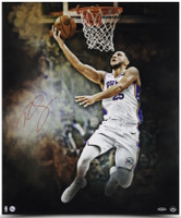 "BEN SIMMONS Autographed ""Reverse"" 20 x 24 Philadelphia 76ers Photograph UDA"