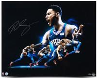 "BEN SIMMONS Autographed Philadelphia 76ers ""Drive"" 30 x 24 Photograph UDA"