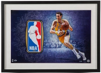 JERRY WEST Autographed Lakers Framed Logo Man Patch & Photograph UDA LE 44