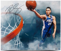 "BEN SIMMONS Autographed ""Above The Clouds"" 24"" x 20"" 76ers Photograph UDA"