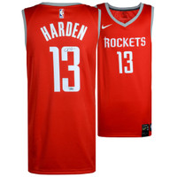 JAMES HARDEN Houston Rockets Autographed Swingman Red Jersey FANATICS