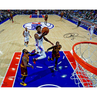 "JOEL EMBIID Autographed Philadelphia 76ers ""Lay Up"" 16 x 20 Photograph FANATICS"