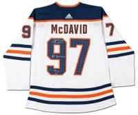 CONNOR McDAVID Autographed #1 Pick 2015 Oilers Authentic White Jersey UDA LE 97
