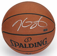 KEVIN DURANT Autographed (Silver) Spalding Authentic Basketball Warriors PANINI