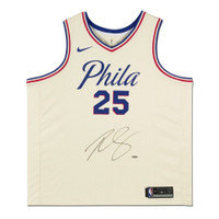 "BEN SIMMONS Autographed Sixers White ""Phila"" City Edition Jersey UDA"