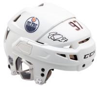 CONNOR McDAVID Autographed Edmonton Oilers CCM HTV08 White Helmet UDA