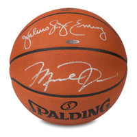 MICHAEL JORDAN & JULIUS ERVING Autographed Authentic Spalding Basketball UDA