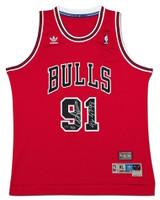 "DENNIS RODMAN Autographed Inscribed ""96-97-98"" Adidas Authentic Bulls Jersey UDA LE 25"