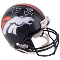 PEYTON MANNING Autographed Career Stats Denver Broncos Proline Helmet FANATICS