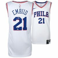 JOEL EMBIID Philadelphia 76ers Autographed White Nike Jersey FANATICS
