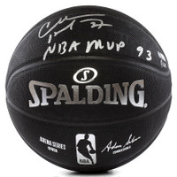 CHARLES BARKLEY Signed Inscribed MVP 93 Black Spalding Basketball PANINI LE 100