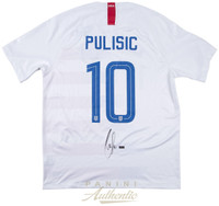 CHRISTIAN PULISIC Signed 2018 Nike US Men's White #10 Authentic Jersey PANINI