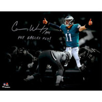 "CARSON WENTZ Autographed ""Fly Eagles Fly"" 11 x 14 Spotlight Photograph FANATICS"
