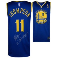 "KLAY THOMPSON Autographed ""18 NBA Champs"" Warriors Blue Jersey FANATICS"