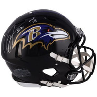 "RAY LEWIS Autographed Baltimore Ravens ""HOF 18"" Proline Speed Helmet FANATICS"