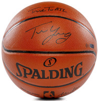 "TRAE YOUNG Autographed ""True To ATL"" Replica Spalding Basketball PANINI LE 111"