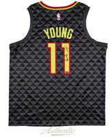 TRAE YOUNG Autographed Atlanta Hawks Swingman Black Jersey PANINI