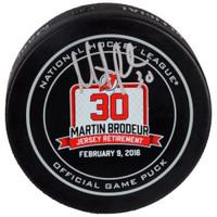 MARTIN BRODEUR Autographed New Jersey Devils Retirement Night Hockey Puck FANATICS