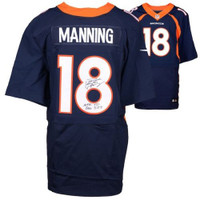 "PEYTON MANNING Autographed Nike ""NFL TD Record"" Broncos Blue Jersey FANATICS"
